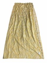 Four pairs of heavy quality thermal lined and pleated curtains in pale gold fabric