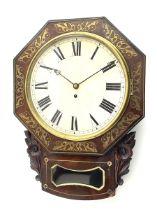Mid-19th century mahogany veneered eight-day four-pillar single fusee drop dial wall clock with an o