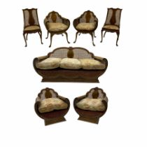 1920's simulated walnut seven piece drawing room berg�re lounge suite - three seat settee with curve