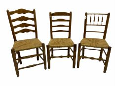 Two 19th century elm ladder back chairs and a 19th century elm spindle back chair