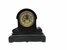 Late 19th century Belgium slate mantle clock with a Parisian rack striking eight-day movement