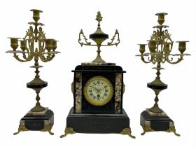 Late 19th century French mantle clock with a Parisian single train eight-day timepiece movement