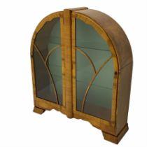 Art Deco walnut two door display cabinet