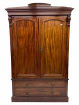 Late Victorian figured mahogany double wardrobe