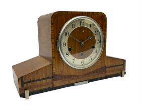 A 1930�s eight-day three train art deco Westminster chiming mantle clock with a Haller & Benzing (Ge