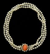 Three strand white/pink cultured pearl necklace