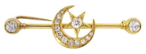 Victorian gold diamond star and crescent bar brooch