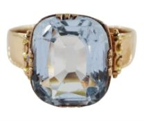 Early 20th century continental 13ct rose gold single stone aquamarine ring