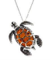 Silver amber turtle pendant necklace