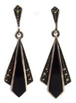 Pair of silver onyx and marcasite pendant stud earrings