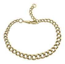 9ct gold tapering curb link bracelet with clip