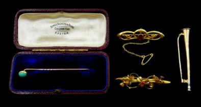 Early 20th century 14ct gold hunting horn brooch