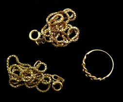 Two gold box link chain necklace's and a rose gold link ring