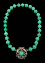 Chinese jade bead necklace with silver open work clasp with a cabochon greenstone/possibly jade bead