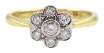 18ct gold round brilliant cut diamond flower cluster ring