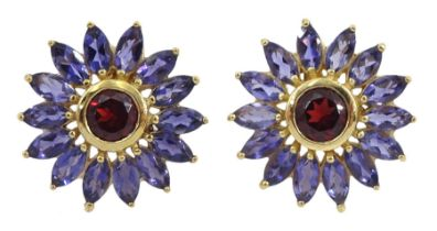 Pair of 9ct gold round garnet and marquise shaped iolite cluster stud earrings