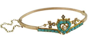 Edwardian 9ct rose gold turquoise and split seed pearl heart bangle