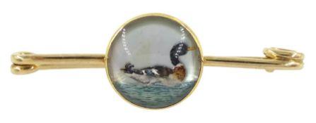 Early 20th century Austrian 14ct gold Essex crystal duck bar brooch