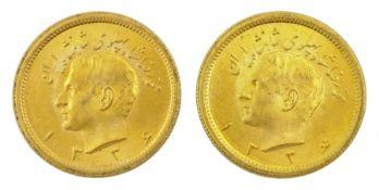 Two Persia (Iran) Mohammed Reza Shah 1 Pahlavi gold coins