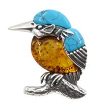 Silver Baltic amber and turquoise kingfisher brooch