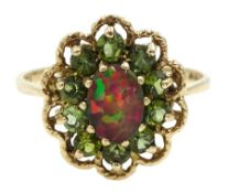 9ct gold opal triplet and peridot cluster ring