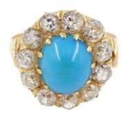 19th century gold turquoise and diamond cluster