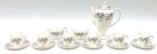 Wedgwood Hathaway Rose pattern coffee set for six