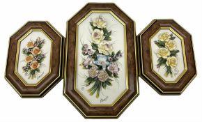 Set of three Capodimonte wall plaques