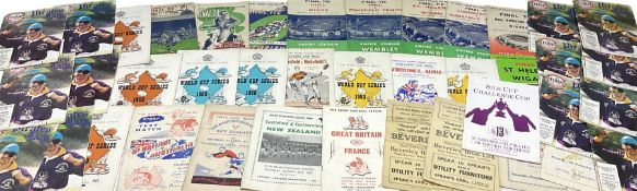 1940s and later Rugby League programmes including Bradford Northern V Wigan at Wembley Empire Stadiu