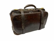 Vintage brown leather Gladstone bag