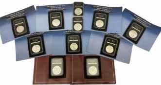 Eleven United States of America silver dollar coins from �The complete uncirculated American Eagle S