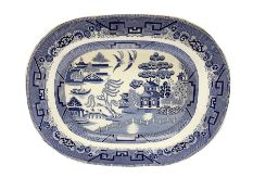 Victorian blue and white meat platter in willow pattern