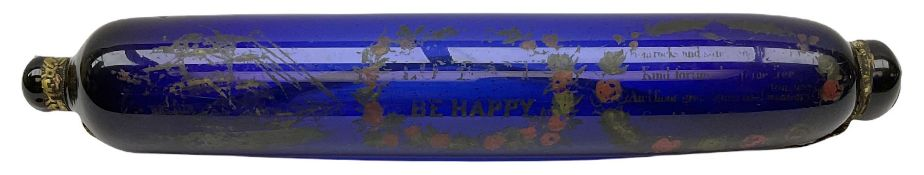 19th century Bristol blue glass rolling pin enamelled with The Great Australia Clipper-Ship