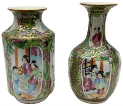 Two late 19th/early 20th century Chinese famille rose vases