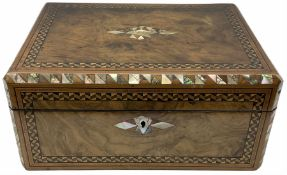 Early 20th century figured walnut box with abalone and inset mother of pearl detail