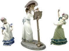 Lladro figure modelled as a female figure playing the flute