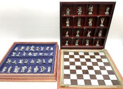 Danbury Mint 'The Fantasy of the Crystal' chess set consisting of mythical pewter chess pieces withi