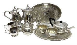 Silver plated tea set by H Fisher & Co of Sheffield comprising tea pot