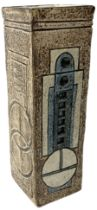 Troika rectangular vase with geometric panels in blue and cream on a brown ground with painted marks