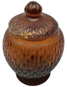 19th century Peking amber bamboo moulded glass jar and cover