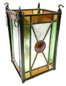 Arts and Crafts style leaded glass lantern