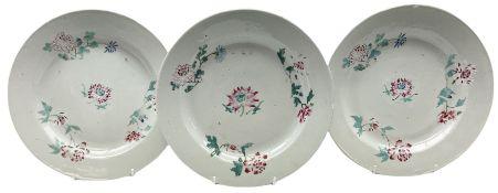 Three 18th century Chinese porcelain plates