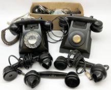Two vintage black Bakelite telephones