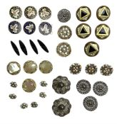 Antique buttons including set of three A.P. & Cie (Albert Parent and Company) Paris brass and enamel