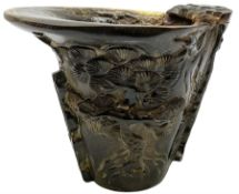 Chinese ox horn libation cup
