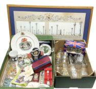 Commemorative ware to include Elizabeth II coronation glasses