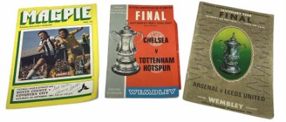 Three football programmes / match-day magazines