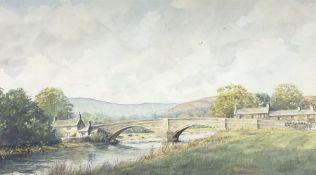 Les Packham (British 20th Century): Rural Landscape with River and Bridge