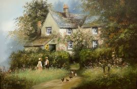 Les Parson (British 1945-): Children and Hens outside a Cottage