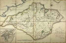 John Albin (British 18th/19th century): 'The Isle of Wight' engraved folding map with later hand-col